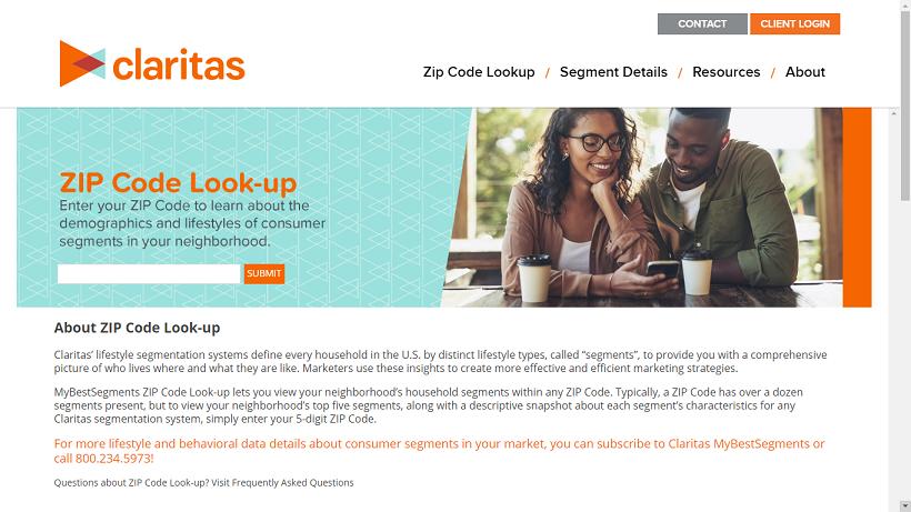 Go to NielsenClaritas website and click on Zipcode Look up.